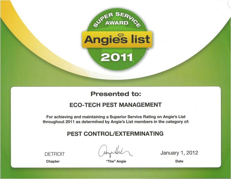 Angie's list, pest control, michigan, Angies list super service award, pest control reviews, exterminator reviews, Eco-Tech Pest Management, best pest control companies, local pest control, recommended exterminator, recommended pest control companies, recommended pest control businesses